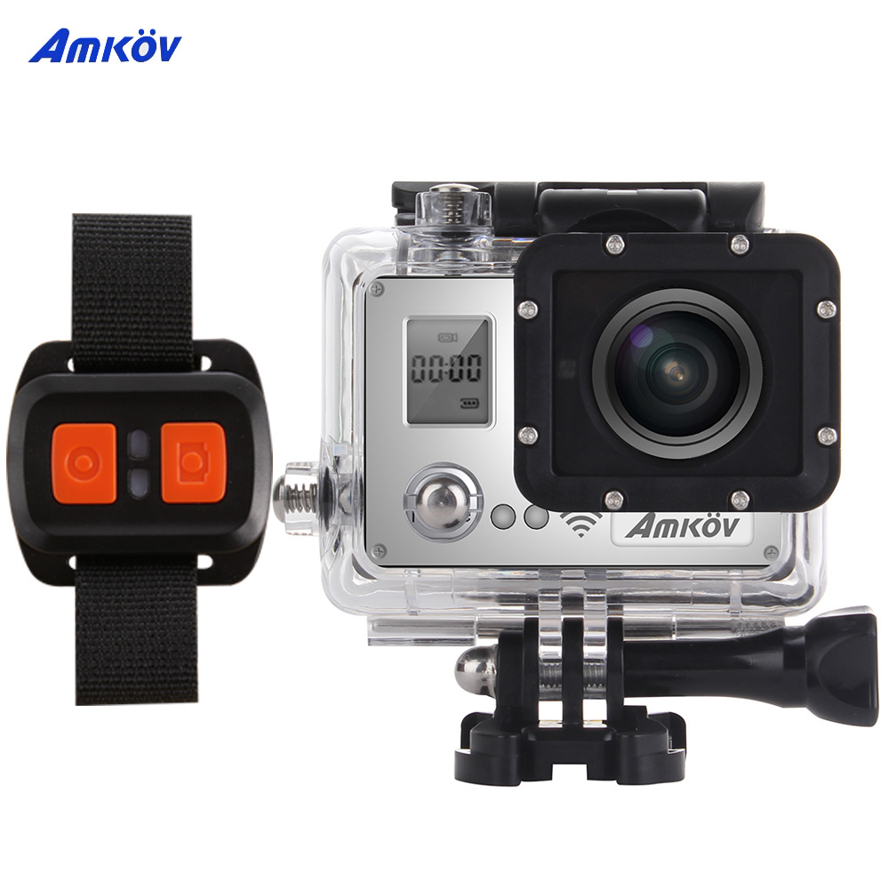 AMKOV AMK7000S Wifi 4K 1080P 60fps Action Camera 20MP 2.0 in LCD Waterproof 40m 170 Wide Angle Car DVR with Remote Control Watch(China (Mainland))