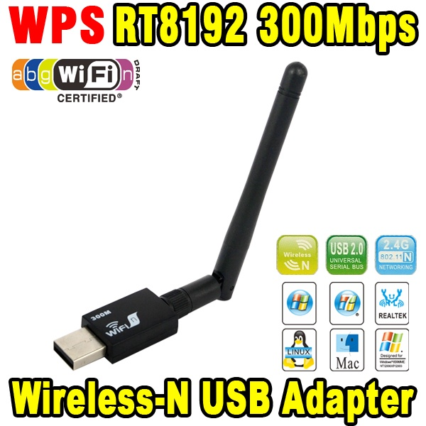 Networking Card Wifi RT8192 300Mbps USB WiFi Wireless Network WI-FI LAN Adapter & Antenna Computer Accessories Support WPS(China (Mainland))