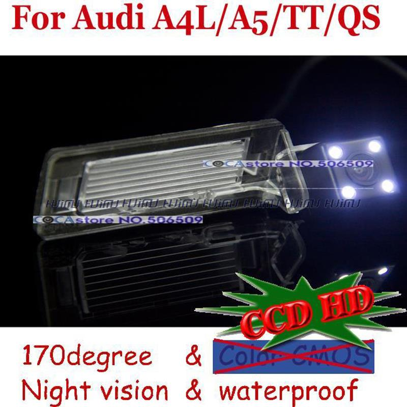 wire wireless CCD with LED night vision car rear view camera for Audi 2009 to 2012 A4L TT A5 QS parking camera night vision(China (Mainland))