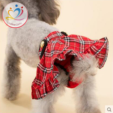 plaid grid pattern Scotland style Pet Dog Menstruation Underwear New Female Pet Cute skirt Diaper red Color S M L Pet Supplies