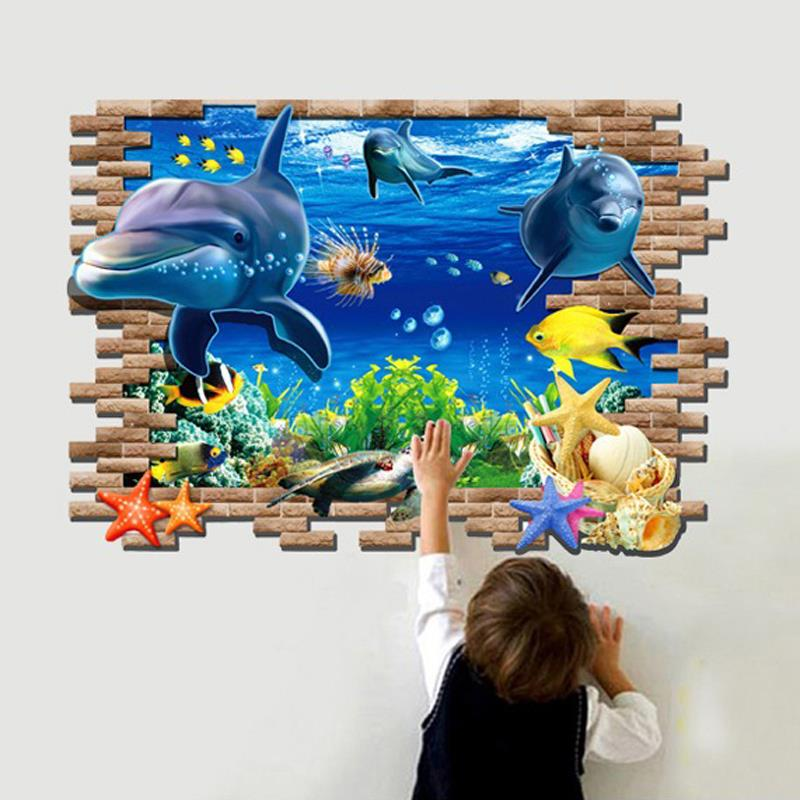 large reality 3d dolphin wall stickers aquarium sea world