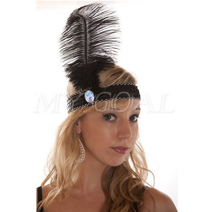 flapper girl Native Indian Elastic Sequin ostrich Feather hippie Headbands, american carnival headdress christmas decorations(China (Mainland))
