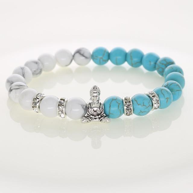 Новый удачный будда браслеты бирюзовый с кристально шарики прокладки бусины для религиозных ...