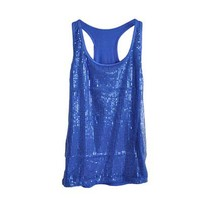 Shiny Sequined female summer 2016 loose long sleeveless the word vest sling sexy tanks tops girls solid color camisole