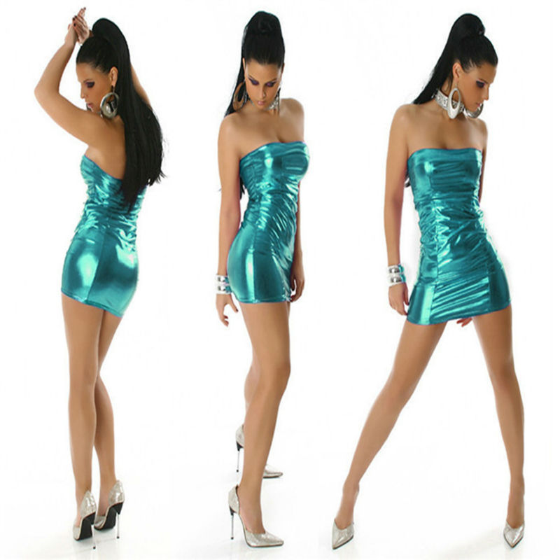 Woman Silver/Gold/Blue/Red PVC dress cosplay gilt leather dree nightclubs package hip dree sexy flare vestido(China (Mainland))