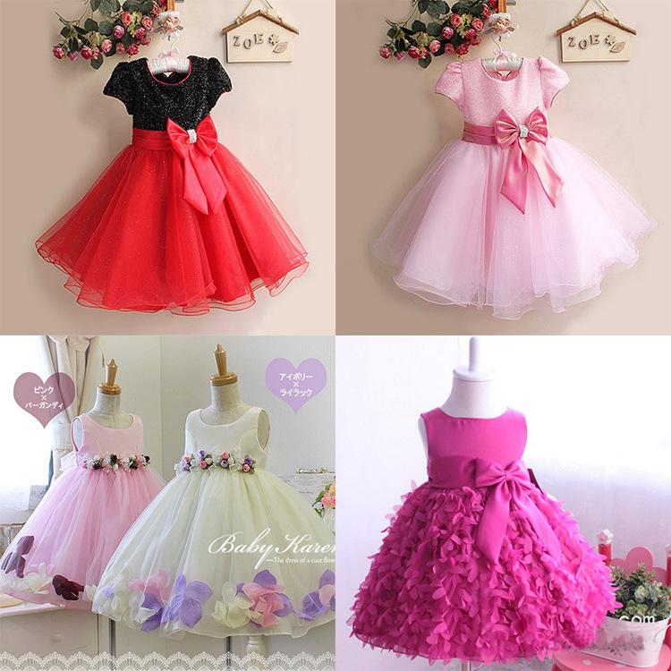 2015 new flowers girls cute mesh tutu princess wedding party dress 1-8 age children bow high quality vestidos kids clothes D27(China (Mainland))