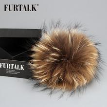 FURTALK натуральный меховой пумпон из меха енота на помпон шапки (China (Mainland))