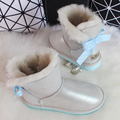 BLIVTIAE Luxury Sheepskin Snow Boots Women Natural Fur Genuine Leather Short Bow Boots Winter Wool Boots