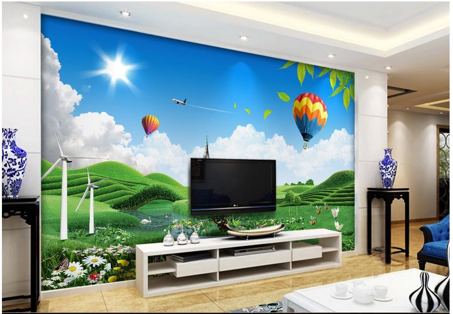 Custom 3d photo wallpaper for walls 3 d wall murals Grassland scenery of blue sky garden green background home decor living room(China (Mainland))