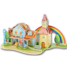 1Pcs Cartoon Castles 3D DIY Jigsaw Puzzle Wisdom Baby Kids Educational Toys Construction Jigsaw for Children(China (Mainland))