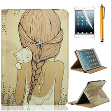 Cat Girl PU Leather Cover Case For Apple iPad mini 1 & with Retina display 2 2th Magnetic Smart Cover case(China (Mainland))