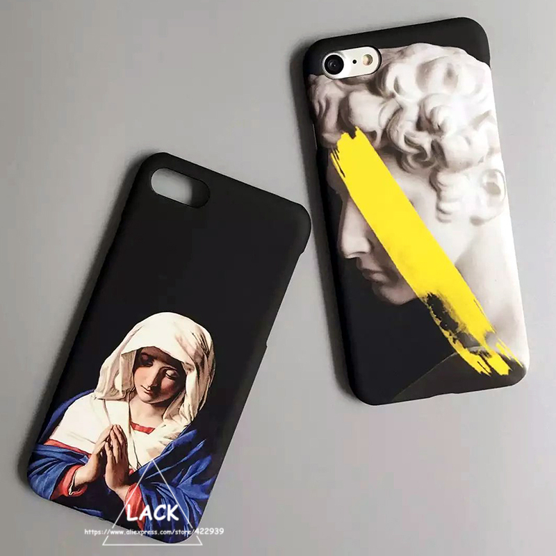 Retro Vintage Art Cartoon Case iphone 7 Case iphone7 6 6S Plus Phone Cases Luxury Hard PC Capa Statue Virgin Maria Cover