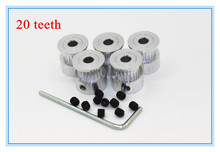 5pcs/Lot GT2 Timing Pulley 20teeth Alumium Bore 5mm fit for GT2 belt Width 6mm ( 20 teeth )(China (Mainland))
