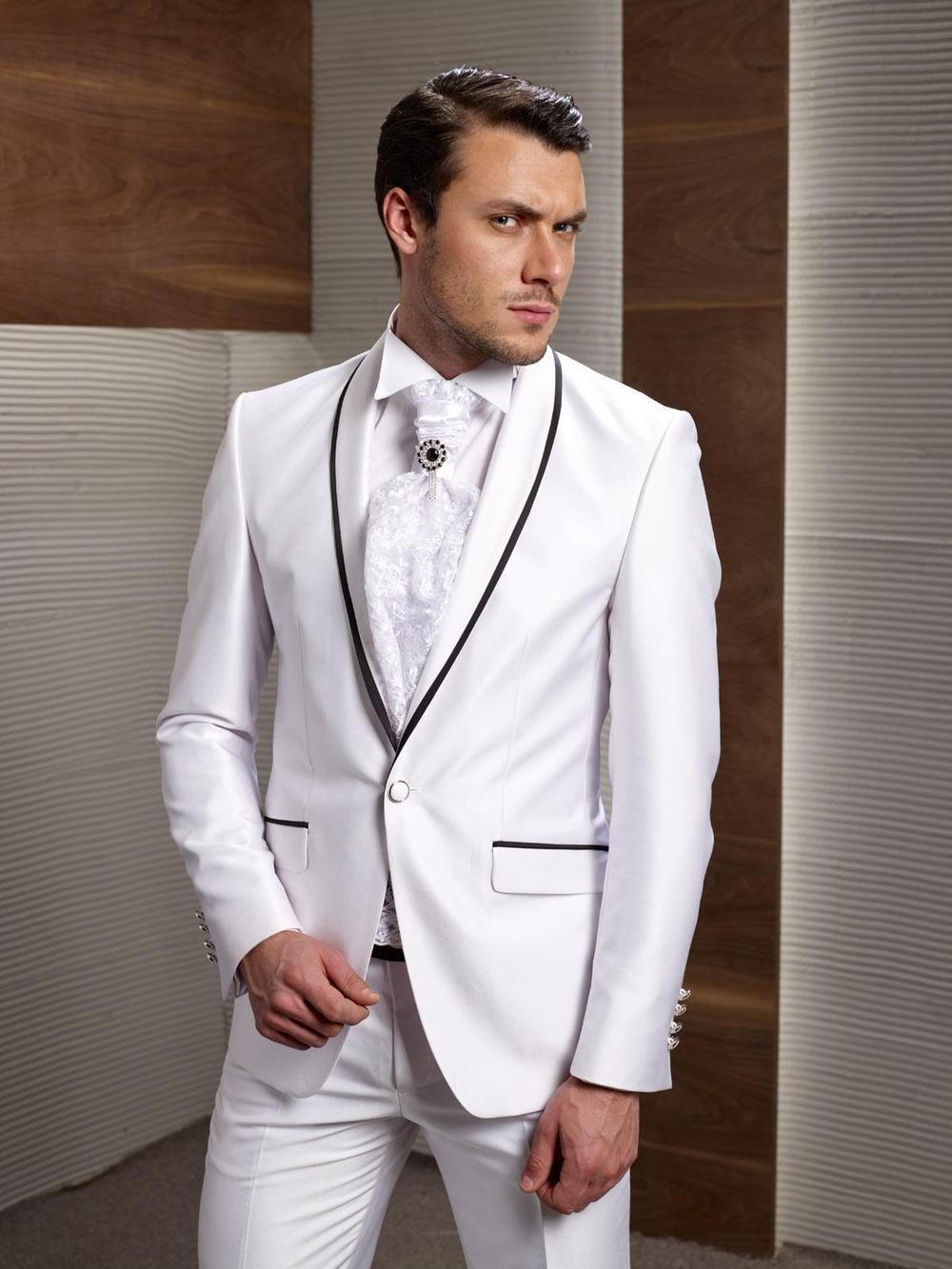 Nova Chegada Do Noivo Smoking Branco Ternos De Casamento Para Homens Preto Xaile Lapela