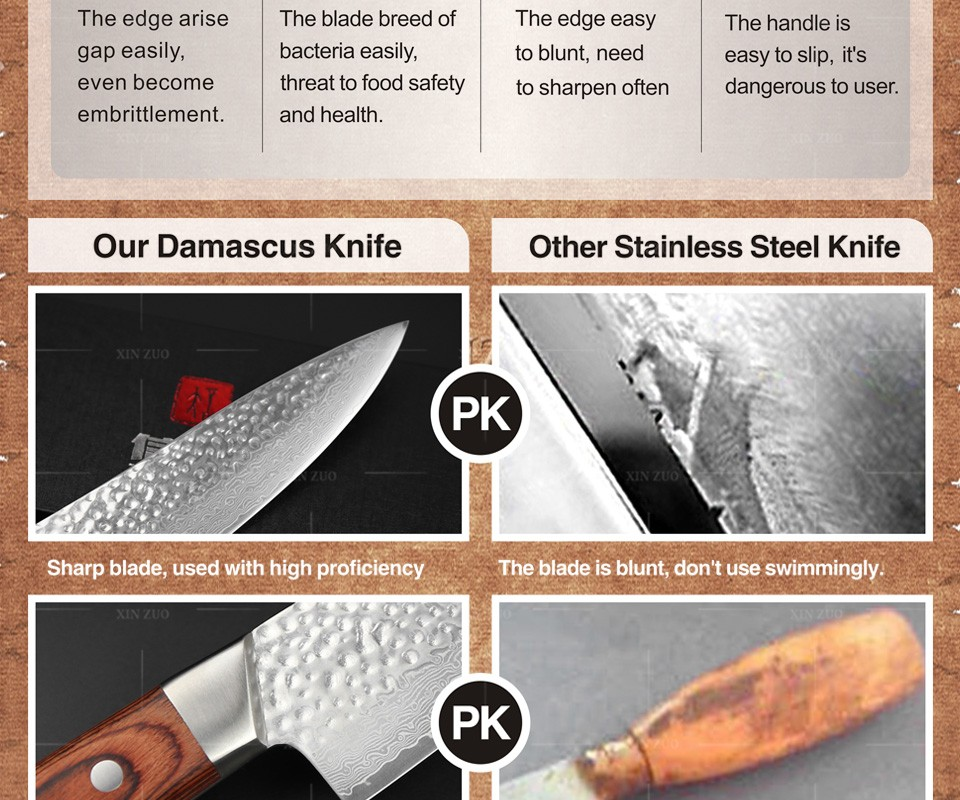 Buy XINZUO 5 pcs Kitchen knives set Japanese Damascus kitchen knife cleaver surper sharp chef knife Color wood handle free shipping cheap
