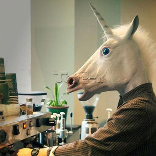 Unicorn Full Head Horse Mask Masquerade Party Halloween Cosplay Animal Latex - Toyben Mall store