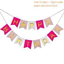عيد ميلاد سعيد راية الذهب الوردي إكليل من الورق نجوم بالونات DIY بها بنفسك الحرف للطفل صبي فتاة عيد ميلاد حفلة التعميد الديكور(China)