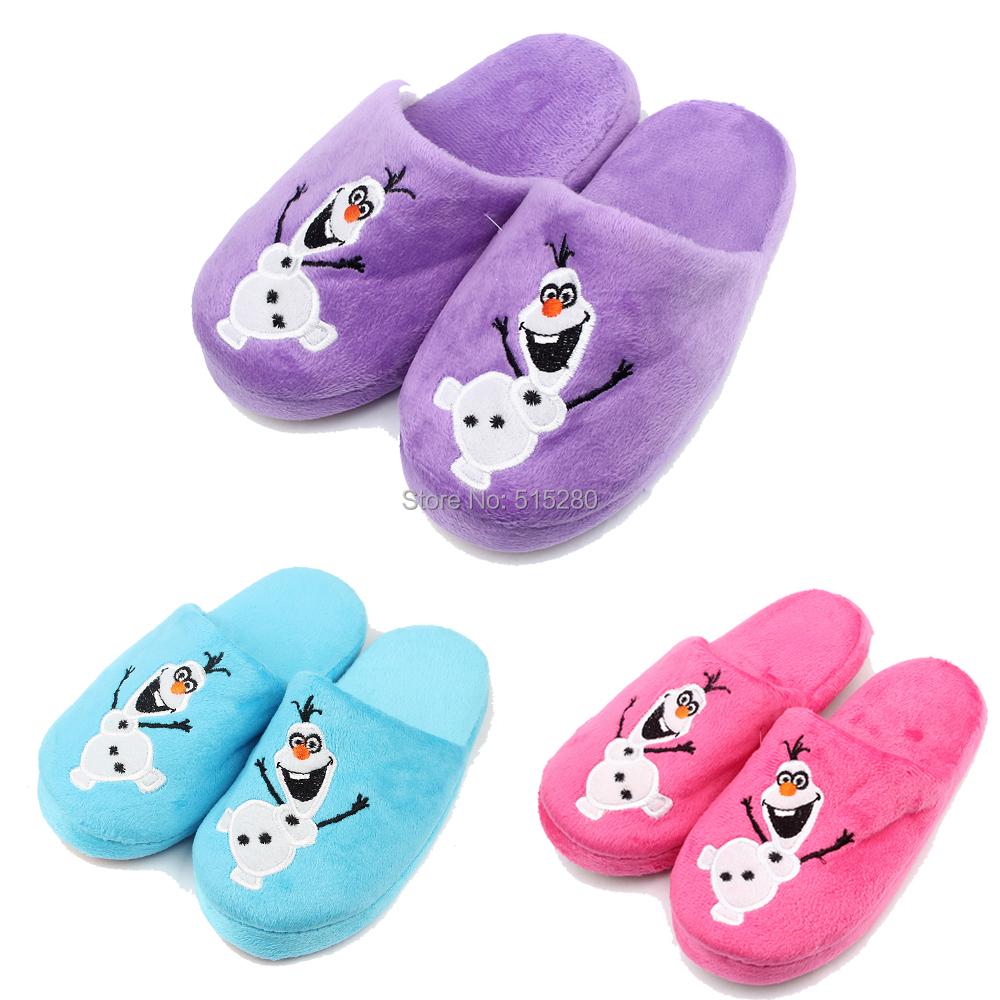 2014 NEW Kid s Slipper Olaf Inspired Winter Children Soft Plush Slippers Purple Pink Blue Free