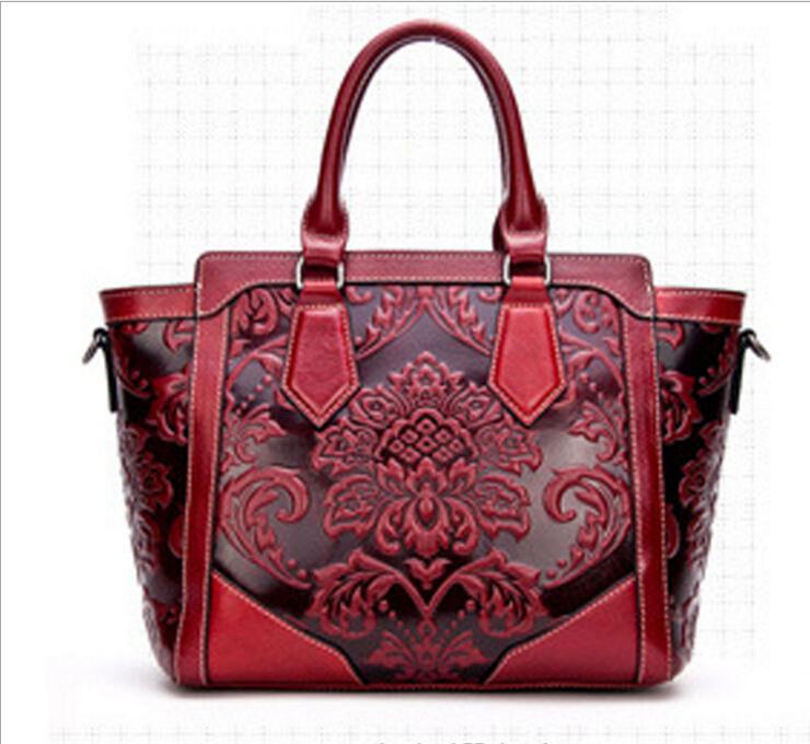 Здесь можно купить  4 Colors High Quality Cowhide Bag Genuine Leather Flower Pattern Women Hobo Clutch Handbag Shoulder Tote Bags   Камера и Сумки
