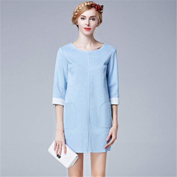 New Arrivals 2016 Women Dresses Vestidos Mujer Robes Spring Lady O-neck Blue Suede Dress American Apparel Roupa Feminina 72163(China (Mainland))