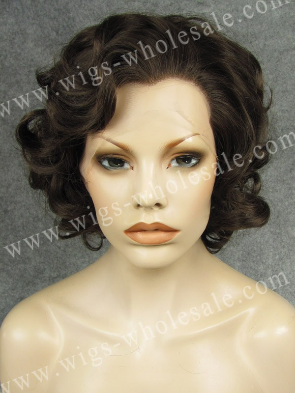 silk top lace front wig short  curly  brown Synthetic Lace Front Wigs N24-6/8<br><br>Aliexpress
