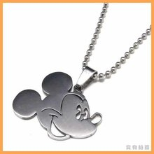 Free Shipping Fashion jewelry Mickey Mouse Head Pendant 316L Stainless Steel Necklaces Mens Necklaces 06083