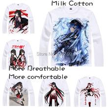 2015 Mens Unique Anime T-shirt Print Red Eyes Sword Akame ga Kill Esdeath Long Sleeve Casual Cosplay T Shirt Camisetas Masculina