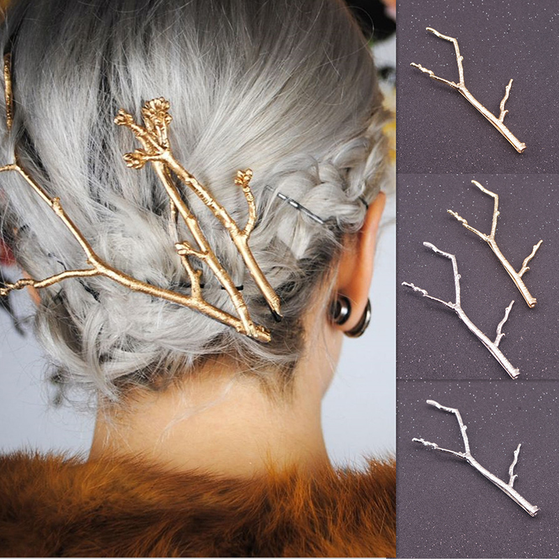 Hairpin Gold Silver Metal Branch Hair Pins Women Hair Jewelry Head Accessories Wedding Bridal Clip Hairpins for Girls H0458(China (Mainland))