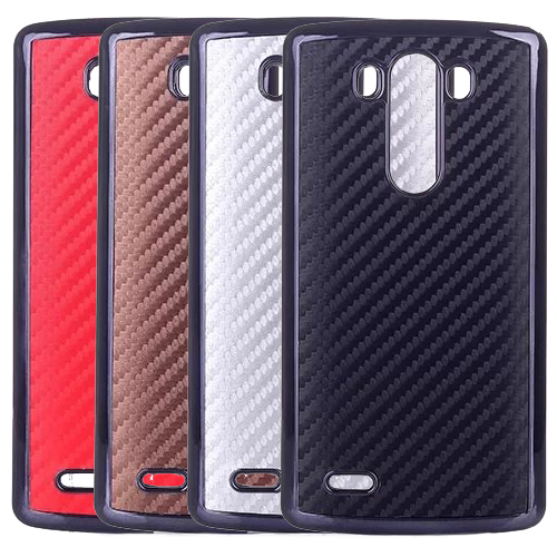Luxury Brand Carbon Fiber Plating Plastic Hard Back Case Cover Fashion Cell Phone Bag For LG G3 D855 Skin(China (Mainland))