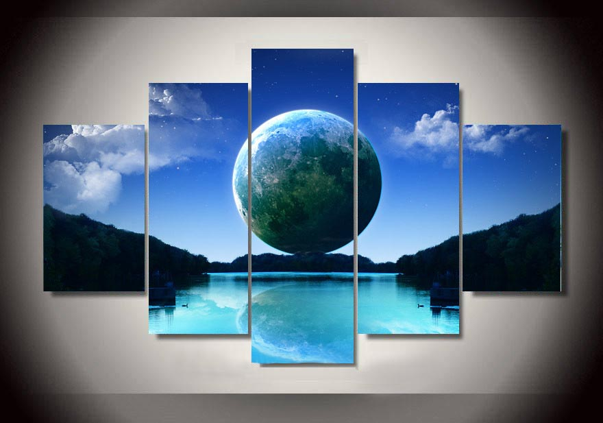 Modern Painting Printed On Canvas Earth Painting by Numbers Wall Art for Living Room Home Decor Unframed 5 Pieces/set(China (Mainland))