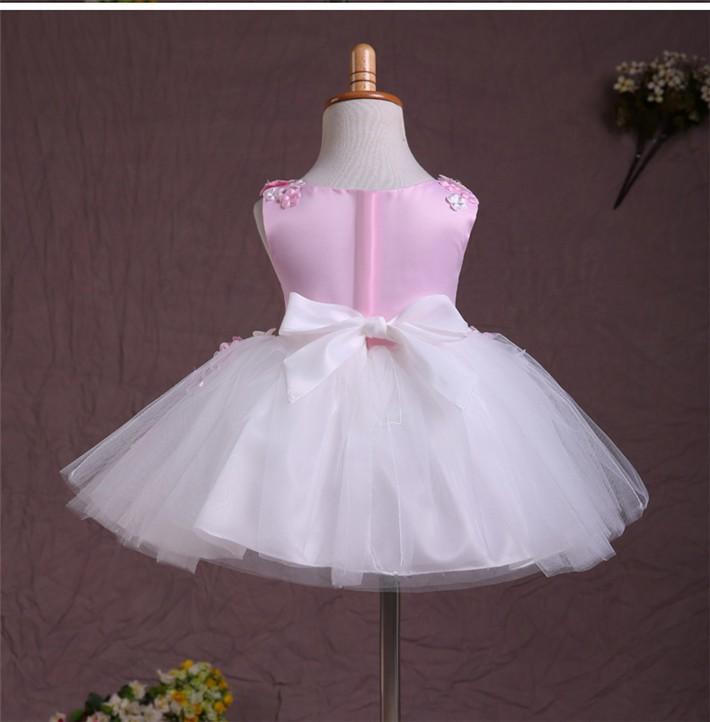 Скидки на ДЕТСКИЕ WOW Детская Одежда Девочки Платья Дешевые Платья Девушки Цветка 1 Год Рождения Платье Розовые Принцессы Vestido Infantil 70040