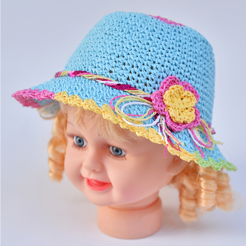 Hotsell baby summer lovely flower sun hats children hat Kids straw cap girls beach hat all for children clothing and accessories(China (Mainland))