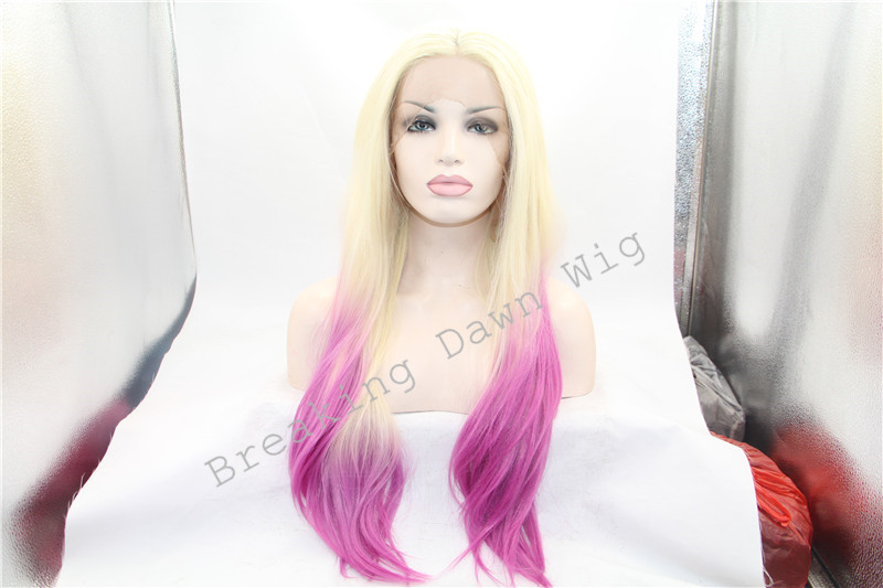 Synthetic lace front wig pink ombre wig with blonde at root heat resistance fiber long silky straight wig hair <br><br>Aliexpress