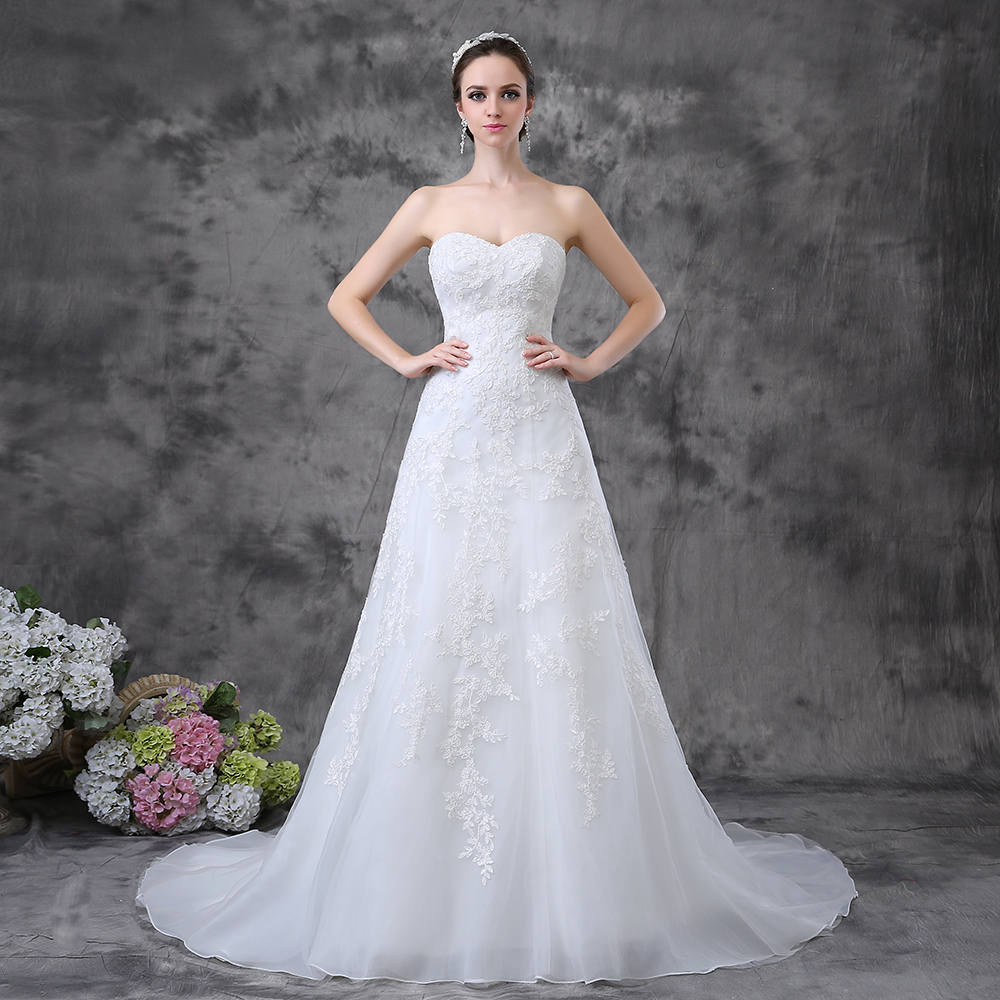 Strapless a line long train vintage inspired lace wedding for Strapless wedding dresses with long trains