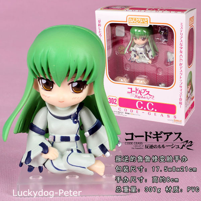 Free Shipping Code Geass C.C. Action Figure 1/10 scale painted figure 302# Cute C.C. Doll PVC ACGN figure Garage Kit Anime 10CM(China (Mainland))