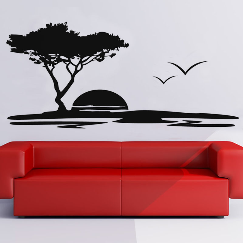Hot Sale Removable Vinyl Big Tree And Seagulls Nature Wall Stickers Seaside Sunset Scenery Living Room Wall Mural(China (Mainland))