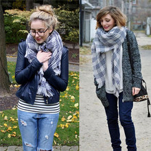 Women Lady Blanket Oversized Tartan Scarf Wrap Shawl Plaid Cozy Checked Suzie