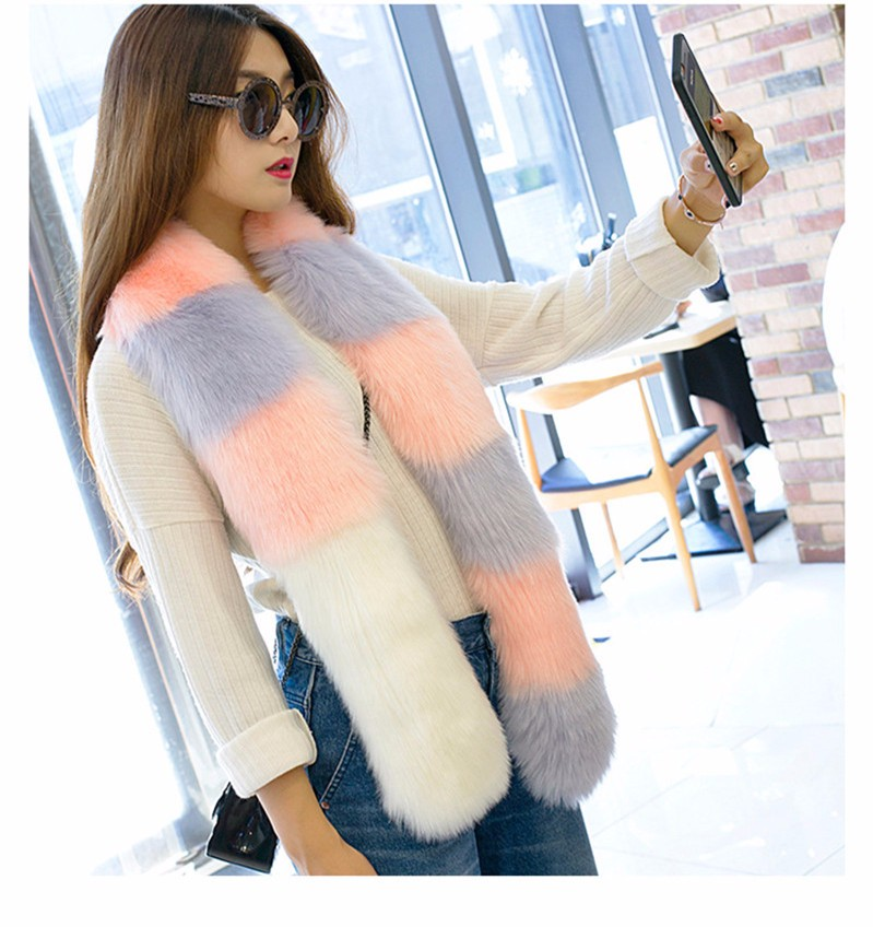 multicolor New fashion Winter Women Ladies Scarf color mixture soft Thick Winter Keep Warm Scarf Faux Fur Scarf 6 Colors WWW08