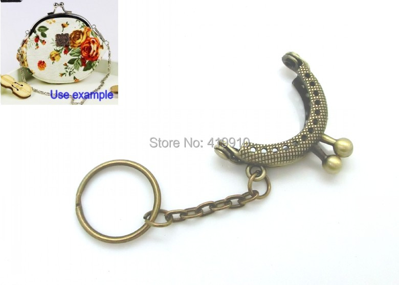 Free Shipping-2PCs Metal Frame Kiss Clasp Arch For Purse Bag Antique Bronze W/Key Rings 4.2x3.5cm(Can Open Size:6.3x4.2cm) D0102<br><br>Aliexpress