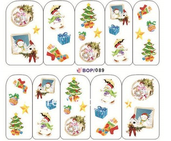 NEW ARRIVAL  Christmas Design , Water decals Nail Art Stickers Full Cover Nail tips sticker For Fashion Finger BOP Serise