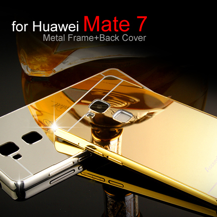 Luxury Ultra thin Aluminum Metal Frame And Acrylic Case For Huawei Mate 7 Back Cover for Huawei Ascend Mate 7(China (Mainland))
