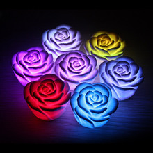 LED Romantic Rose Flower Color changed Lamp Light wedding decoration MFBS