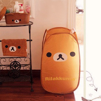 Free Shipping 2pcs/lot Rilakkuma Relaxed Bear Dirty clothes basket Folding laundry/Portable Storage basket Wholesale