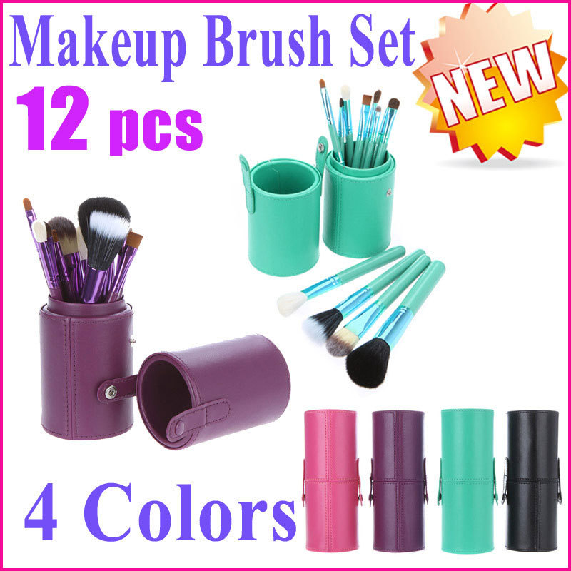 Free Shipping Professional 12Pcs /Set Makeup Brush Set Cosmetic Brush Kit Makeup Tool with Cup Leather Holder Case 4 Color(China (Mainland))