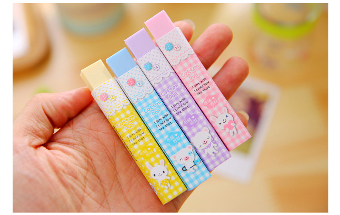 1 Pcs Cube Pencial Kawaii Eraser Cute School Supplies Stationery Erasers Correction Products Korean Papelaria(China (Mainland))