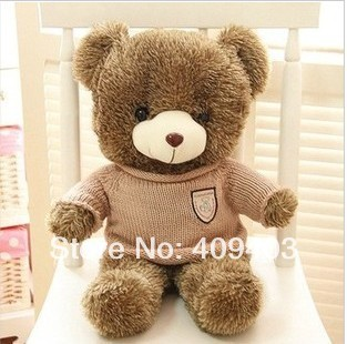 80cm High Quality Plush Soft Toys & Hobbies Stuffed Animals Plush Teddy Bear With Cloth For Girl's Gift(China (Mainland))