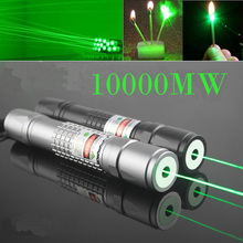 Burn Match Professional Powerful 10000MW Focusable burning Green Laser Pointer Pen lazer pointer 10000m With Battery & Charger(China (Mainland))