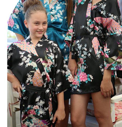 Satin Pajama Kid / Children Sleepwear Wedding Flower girls Gown High Quality Kimono Robes Peacock Nightgown(China (Mainland))