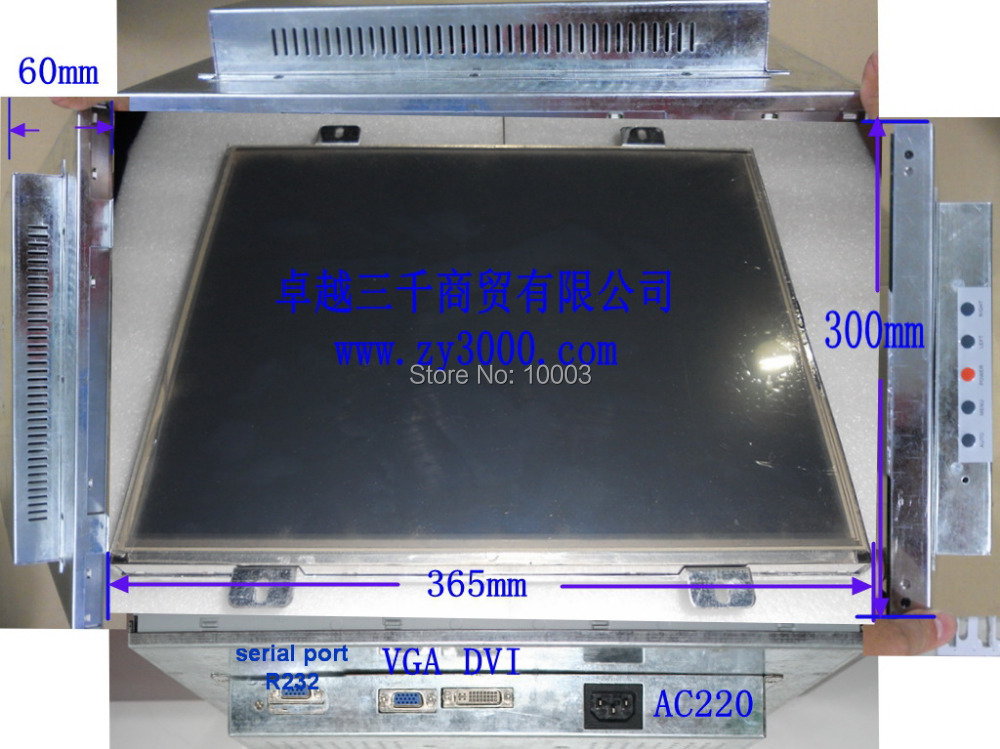 OEM ODM 17 Inch metal casing Open Frame VGA DVI AC110~240V input USB R232 resistive Touch Screen industrial Monitor for Machine(China (Mainland))