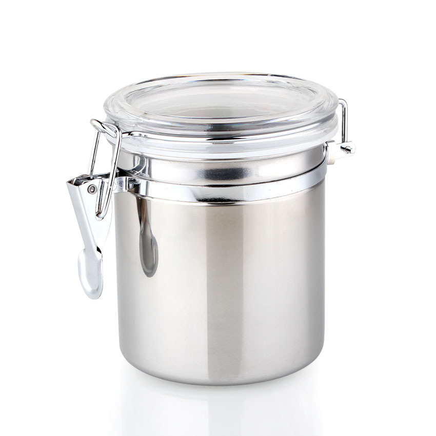 High Quality 0.5Pound Stainless Steel Coffee Bean Airtight Jar Tea Candy storage Tank Free Shipping(China (Mainland))
